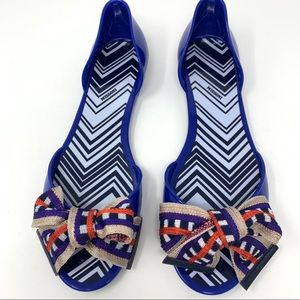 MISSONI Jelly Blue Peep Toe Flat D'Orsa w/ Bow